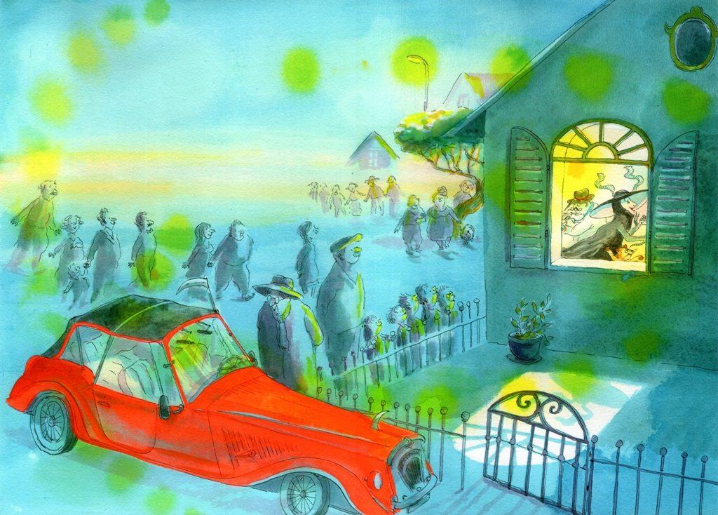 Illustration d'Irène Bonacina pour l'album Cinq minutes et des sablés © Didier Jeunesse 2015.